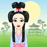 Animation portrait of the young Japanese girl an ancient hairstyle. Geisha, Maiko, Princess. Royalty Free Stock Photos