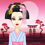 Animation portrait of the young Japanese girl with an ancient hairstyle. Geisha, Maiko, Princess. Royalty Free Stock Image