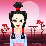 Animation portrait of the young Japanese girl an ancient hairstyle. Geisha, Maiko, Princess. Royalty Free Stock Image