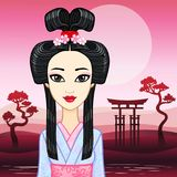 Animation portrait of the young Japanese girl an ancient hairstyle. Geisha, Maiko, Princess. Stock Photos