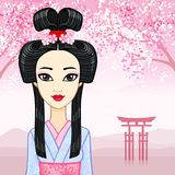 Animation portrait of the young Japanese girl with an ancient hairstyle. Geisha, Maiko, Princess. Royalty Free Stock Photography