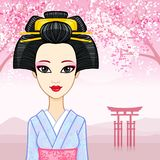 Animation portrait of the young Japanese girl with an ancient hairstyle. Geisha, Maiko, Princess. Royalty Free Stock Images