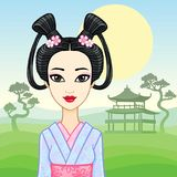 Animation portrait of the young Japanese girl an ancient hairstyle. Geisha, Maiko, Princess. Royalty Free Stock Images