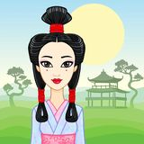 Animation portrait of the young Japanese girl an ancient hairstyle. Geisha, Maiko, Princess. Stock Photography