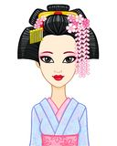 Animation portrait of the young Japanese girl with an ancient hairstyle. Geisha, Maiko, Princess. Royalty Free Stock Photo
