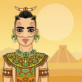 Animation portrait of the young man in a dress of the Native American Indian. Stock Photos