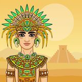 Animation portrait of the young man in a dress of the Native American Indian. Royalty Free Stock Images