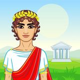 Animation portrait of the young man in traditional clothes of Ancient Greece. Royalty Free Stock Photos