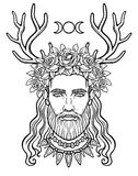 Animation portrait of the young man in a wreath with deer horns.. Pagan god Cernunnos. Mysticism, esoteric, paganism, occultism. Vector illustration isolated Stock Image