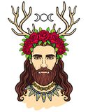 Animation portrait of the young man in a wreath with deer horns. Pagan god Cernunnos. Mysticism, esoteric, paganism, occultism. Vector illustration isolated on Royalty Free Stock Images