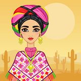 Animation portrait of the young Mexican girl in ancient clothes. Royalty Free Stock Photography