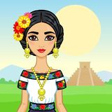 Animation portrait of the young Mexican girl in ancient clothes. Stock Images