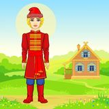 Animation portrait of the young Russian man  in traditional clothes.  Fairy tale character. Full growth. A background - a rural landscape, the ancient house Royalty Free Stock Images