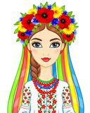 Animation portrait of the young Ukrainian girl in traditional clothes. A wreath and tapes. Vector illustration isolated on a white background Royalty Free Stock Photos