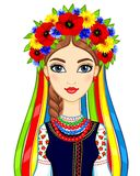 Animation portrait of the young Ukrainian girl in traditional clothes. A wreath and tapes. Vector illustration isolated on a white background Royalty Free Stock Images