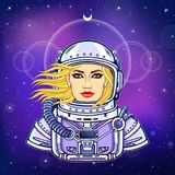 Animation portrait of the young woman astronaut in an open space suit. Background - the night star sky. Vector illustration. Print, poster, t-shirt, card Stock Photography