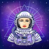 Animation portrait of the young woman astronaut in an space suit. Background - the night star sky. Vector illustration. Print, poster, t-shirt, card Stock Photos