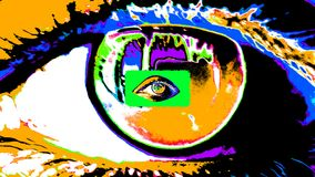 Animation of a psychedelic portal in human eyes. A opt art 3d illustration of a big human female eye with a dark pupil, colorful iris and flickering retina with stock illustration
