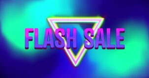 Animation of purple and pink text flash sale with colourful triangles, over green and blue blurs