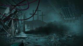 Radioactive zone - post apocalyptic scene