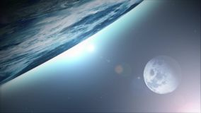 Earth Planet Background With Moon Satellite stock video