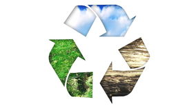 Animation of a recycle icon. Concept of ecology stock video footage