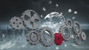Globe spinning with data and connection network with cogs rotating. Animation of a red cog joining cogs rotating while a globe is spinning with data and vector illustration