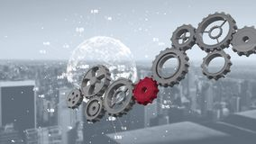 Globe spinning with data and connection network with cogs rotating. Animation of a red cog joining cogs rotating while a globe is spinning with data and stock illustration