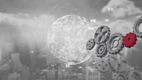 Globe spinning with data and connection network with cogs rotating. Animation of a red cog joining cogs rotating while a globe is spinning with data and royalty free illustration