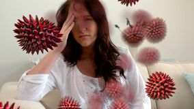 Animation of red corona virus with sick woman in background