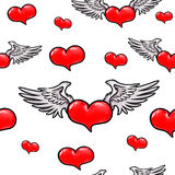 Animation red heart with wings. Seamless pattern. Stock Image