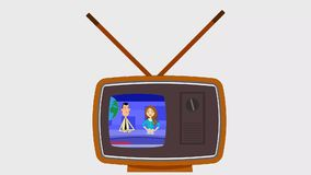 Vector TV old retro type. Animation of a retro type flat graphics old TV set broadcasting stock footage