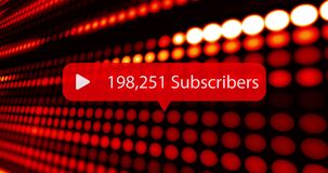 Animation of rising number of subscribers with rows of red led lights in background