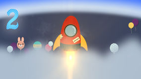 Animation rocket count down introduction for children stock video footage