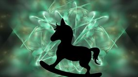 Animation with a rocking horse silhouette, on a fractal background stock illustration
