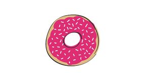 Animation of rotating donut with pink strawberry topping, animated hand drawn cartoon illustration, loop able. stock video footage