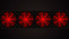 Animation of rotating red fans stock footage
