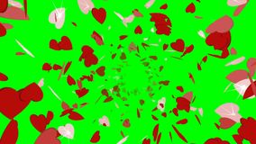 Animation of rotating red sparkles in shape of hearts moving from center. Green and black background stock video