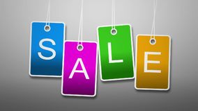 Animation sale. Bright text on cards royalty free illustration