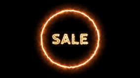 Animation of the sale text with fire effect. stock video