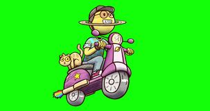Animation of Saturn character driving scooter - isolated on green chroma key background