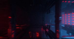 An animation of sci-fi/futuristic cubes in blue and red colors. stock footage