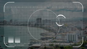 Animation security drone, camera or hologram scanning technology lock on seaside city in technology concept