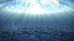 Azure bottom under water. Animation of shallow water under water. Blue water shine waves and light stock footage