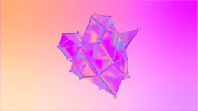Animation of a shape metamorphosis of a polygonal semi transparent model. Multicolor seamless loop motion of a polygonal