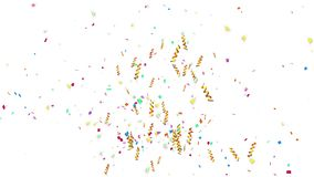 Animation of shooting colorful confetti paper, twisted ribbon, and element particle for holiday party and celebration decoration c. Oncept in white isolated stock footage
