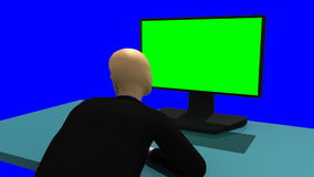 Animation showing a 3dman sitting in front of a green screen