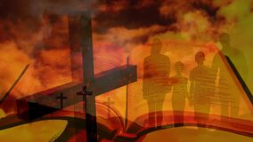Animation of Christian crosses over a family and the Holy Bible