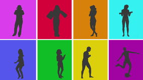 Animation of silhouettes of various people in colourful grid stock video footage