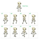 Animation of skeleton walking. Eight walking frames + 1 static pose. Vector cartoon  character/frames Royalty Free Stock Image